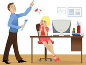 Love story at work — Stock Vector