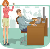Flirt at work — Stock Vector