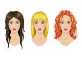 Hairstyles set: blonde, brunette, red-haired woman — Stock Vector