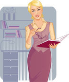 Business woman with journal near desk — Stock Vector
