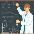 Stock Vector: Chemist at blackboard