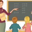 Stock Vector: Teacher at blackboard explains children mathematics