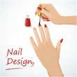 Woman hands putting a varnish on nails - Stock Vector