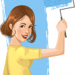 Royalty-Free Stock Vector Image: Woman paints the wall