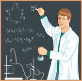 Chemist at blackboard — Stock Vector