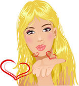A young fashion girl blows kisses — Stock Vector