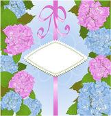 Invitation card with hydrangea flowers — Stock Vector
