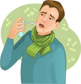Uomo malato con spray — Vettoriale Stock