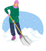 Young cheerful woman cleans the road from snow — Stock Vector