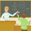 Royalty-Free Stock Vector Image: Teacher at blackboard asks children, eps10