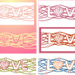 "The word ""love"" in design background. Vector Set of 6 cards — Stock Vector"