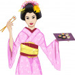 Young beautiful Japanese woman in kimono enjoys sushi — Stock Vector