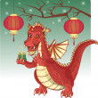Cute red Chinese dragon with a New Year gift — Stock Vector