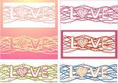 """Słowo """"miłość"""" w tle projekt. wektor zestaw 6 kart — Wektor stockowy"""