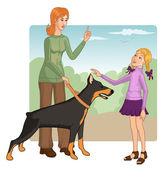 Woman teaches a little girl how to behave with a dog — Stock Vector