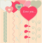 Card with decorative hearts — Stock Vector