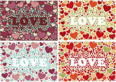 "The word ""love"" in background with hearts. Vector Set of 4 cards — Stockvector"