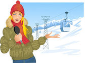 Girl reports about winter sport on the background with cable-way — Stock Vector