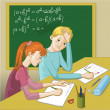 Stock Vector: Boy and girl in classroom