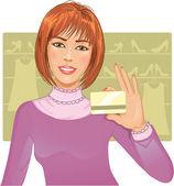 Молодая женщина с помощью кредитной карты — Cтоковый вектор