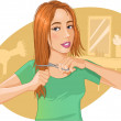 Stock Vector: Cute young brown-haired womcut her hair with scissors