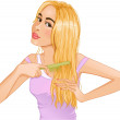 Постер, плакат: Cute young blond woman combs hair