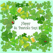 Background for St.Patrick's Day with clovers, ladybirds and glasses with beer, EPS10 — Wektor stockowy