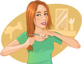 Cute young brown-haired woman cut her hair with scissors — Stock Vector