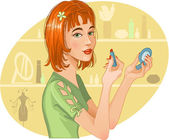 Cute girl doing her make up — Stock Vector