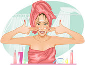Girl applying cream in the bath — Stockvector