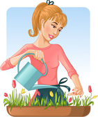 Woman watering her flowers with can — Stock Vector