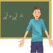 Perplexed boy at blackboard in classroom - Stock Vector