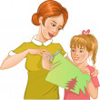 Stock Vector: Mother helps daughter to cut color paper and make applique' work