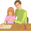 Father helps daughter to read a book - Stock Vector