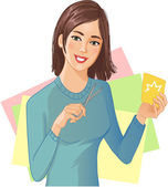 Young beautiful girl is cutting color paper with scissors — Stock Vector
