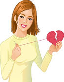 Young beautiful girl repairs fabric heart — Stock Vector