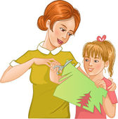 Mother helps daughter to cut color paper and make applique' work — Stock Vector