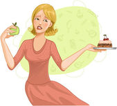 Young woman makes difficult decision between healthy apple and heavy cake — Stock Vector