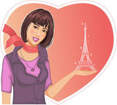 Lovely girl holds an Eiffel tower in hand on a background with heart — Stock Vector