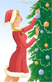 Santa girl decorates a christams tree with balls — Stock Vector