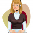 Stock Vector: Young girl call operator