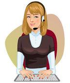 Young girl a call operator — Stock Vector