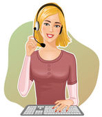 Young girl a call operator — Stock Vector