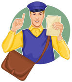 Young postman in a postman uniform with a letter and bag — Stock Vector