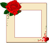 Frame with red rose and heart, EPS10 — Stock Vector