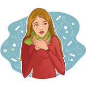 Ill young woman complaints about cold — Stock Vector