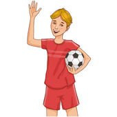 Boy with a football — Stock Vector