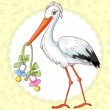 Baby greetings card with stork and two pacifiers for twins — Stock Vector