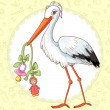 Stock Vector: Baby greetings card with stork and pacifier for girl