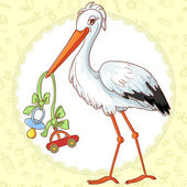 Baby greetings card with stork and pacifier for boy — Stock Vector